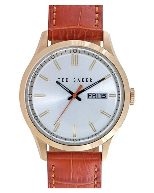 Ted Baker | Metallic Croc-embossed Leather Strap Watch for Men | Lyst