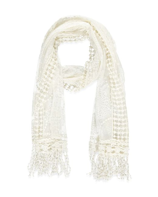 Forever 21 | Natural Embroidered-mesh Scarf | Lyst