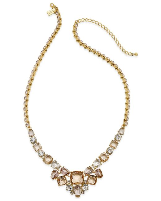 Kate Spade | Gold-tone Pink Stone Frontal Necklace | Lyst