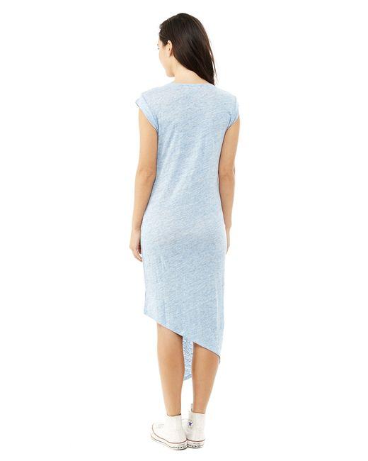 Alternative Apparel   Blue Linen Heather Asymmetrical Midi Dress   Lyst