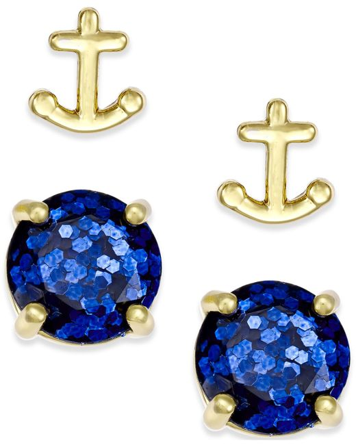 Kate Spade | Blue Gold-tone Glitter And Anchor Stud Earring Set | Lyst