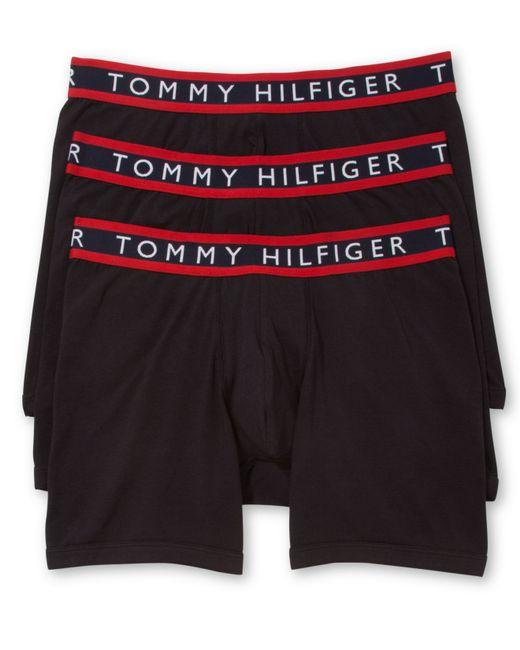 tommy hilfiger men 39 s stretch boxer briefs 3 pack in black for men. Black Bedroom Furniture Sets. Home Design Ideas