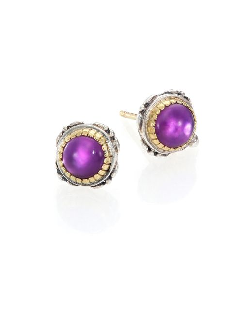Konstantino | Purple Erato Amethyst, 18k Yellow Gold & Sterling Silver Stud Earrings | Lyst