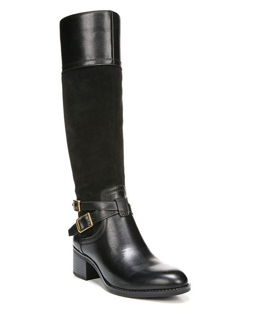 Franco Sarto | Black Lapis - Wide Calf Leather Boots | Lyst