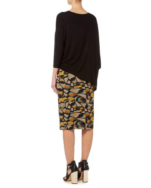 label lab butterfly digi print midi skirt in multicolor