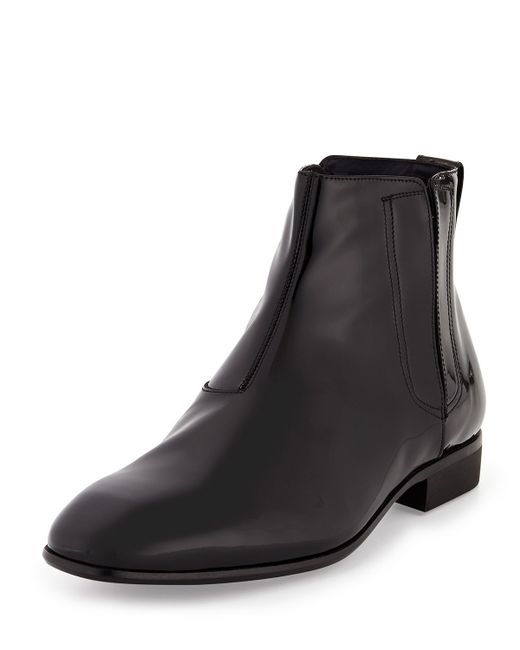 ferragamo mister patent leather chelsea boot in black for