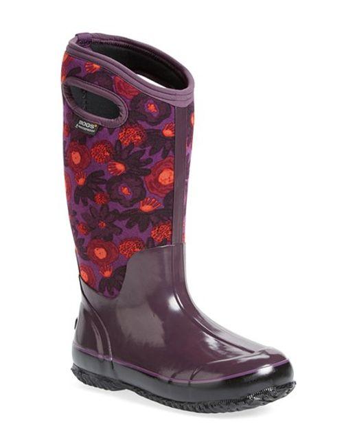 Bogs | Purple 'watercolor' Waterproof Snow Boot With Cutout Handles | Lyst