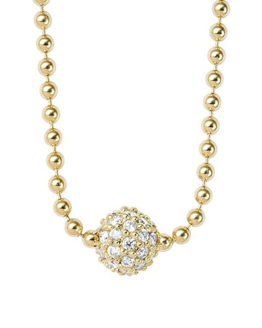 Lagos | Metallic 'covet' Diamond Pave Pendant Necklace | Lyst