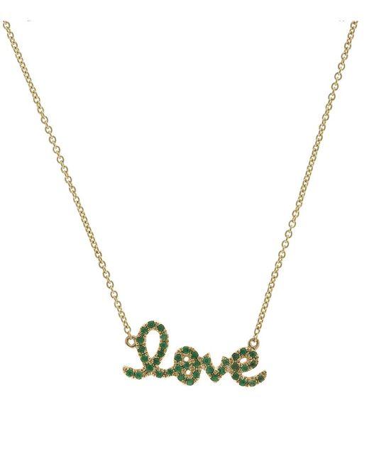 Sydney Evan | Green Love Script Necklace | Lyst