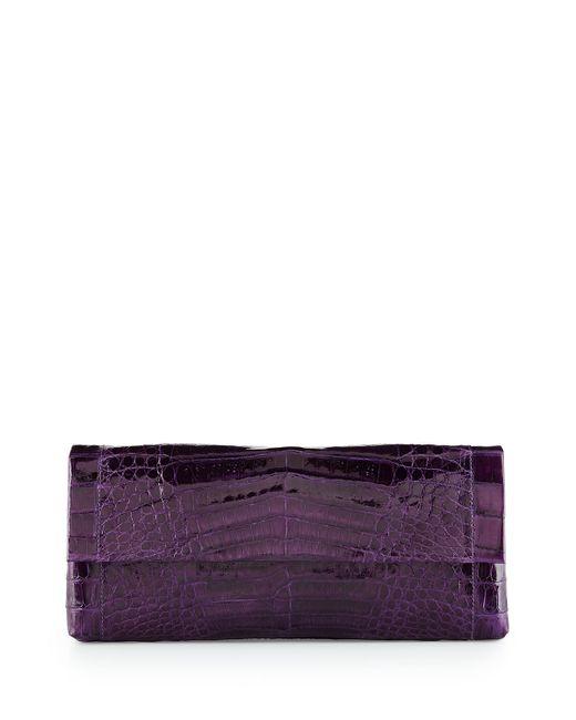 Nancy Gonzalez | Red Gotham Crocodile Flap Clutch Bag | Lyst