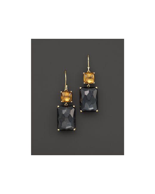 Ippolita   Black 18k Gold Rock Candy Gelato Rectangle Snowman Earrings In Cognac Citrine And Rutilated Quartz Over Hematite   Lyst