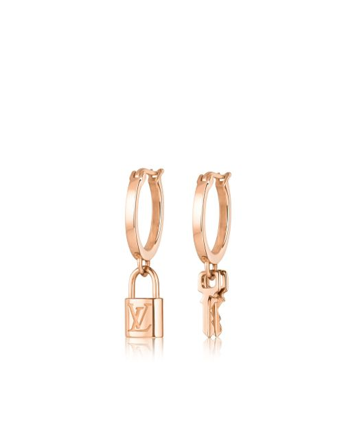 Louis Vuitton | Lockit Hoop Earrings, Pink Gold | Lyst