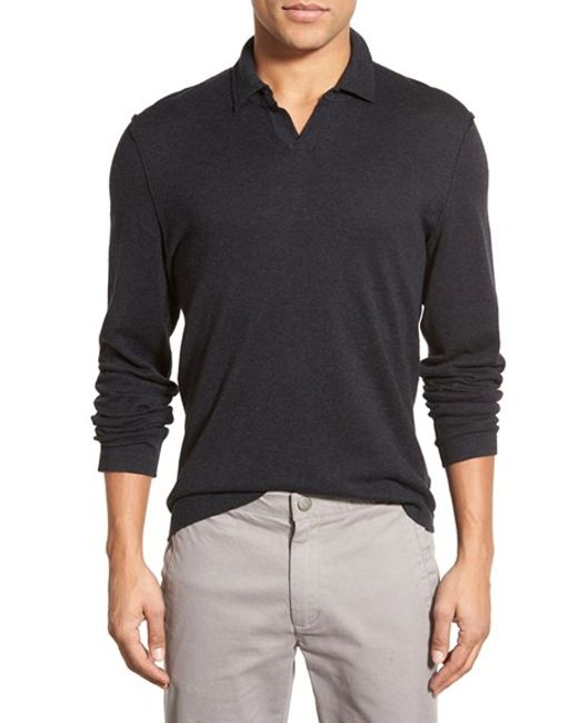 James perse long sleeve cotton wool cashmere polo shirt for Long sleeve wool polo shirts