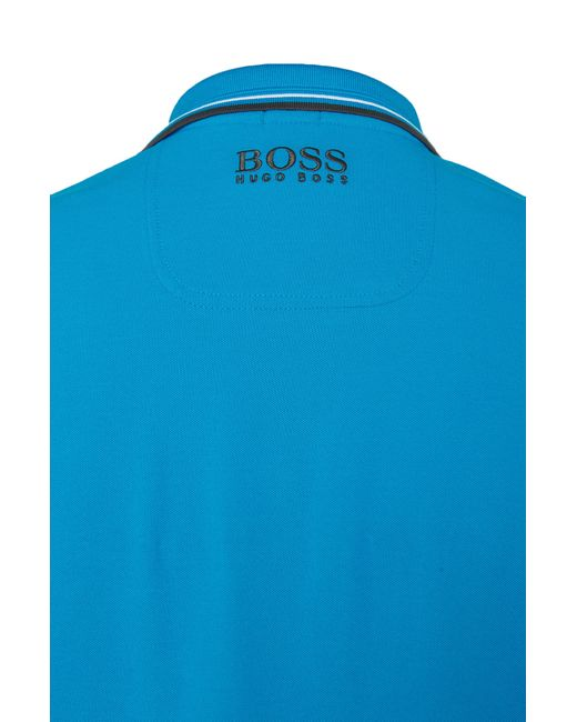 BOSS Green | Blue Plain-coloured Regular-fit Golf Polo Shirt In Piqué: 'paddy Pro' for Men | Lyst