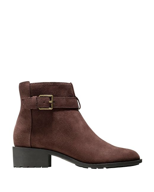 cole haan putname suede ankle boots in brown chestnut