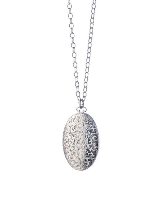 Monica Rich Kosann | Metallic Oval Floral-carved Locket Necklace | Lyst