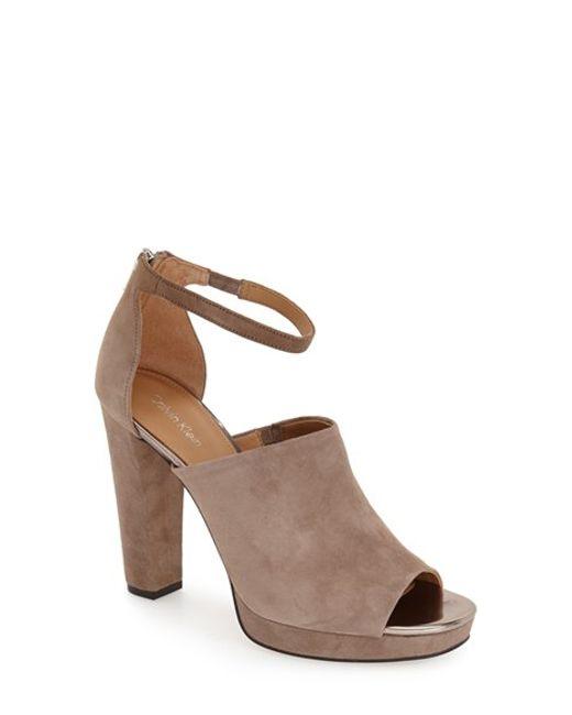Calvin Klein   Natural Bel Suede Peep-Toe Sandals    Lyst