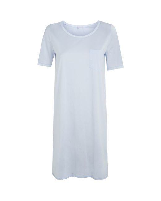 Hanro   Blue Cotton Deluxe Short Sleeve Nightdress   Lyst