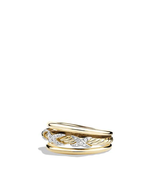 David Yurman | X Crossover Ring With Diamonds In 18k Yellow Gold | Lyst