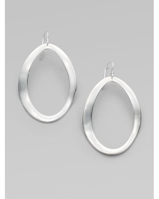 Ippolita   Metallic Glamazon Scultura Sterling Silver Large Wavy Oval Drop Earrings   Lyst