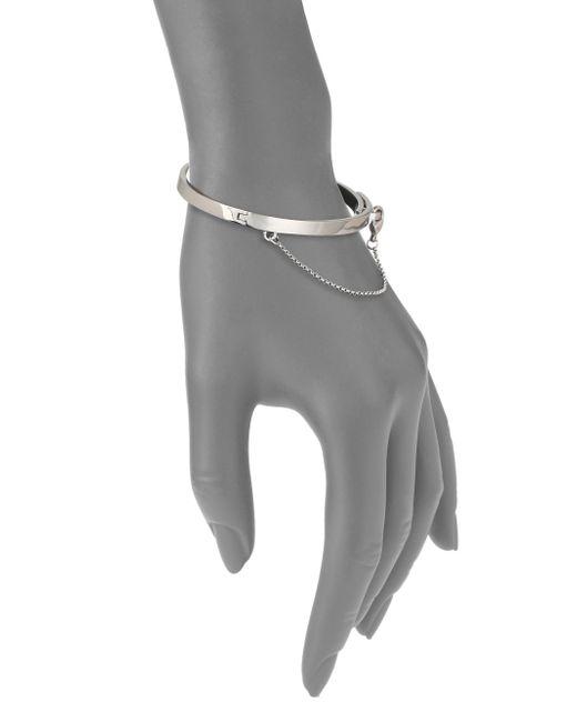 Eddie Borgo   Metallic Thin Safety Chain Bracelet/silvertone   Lyst