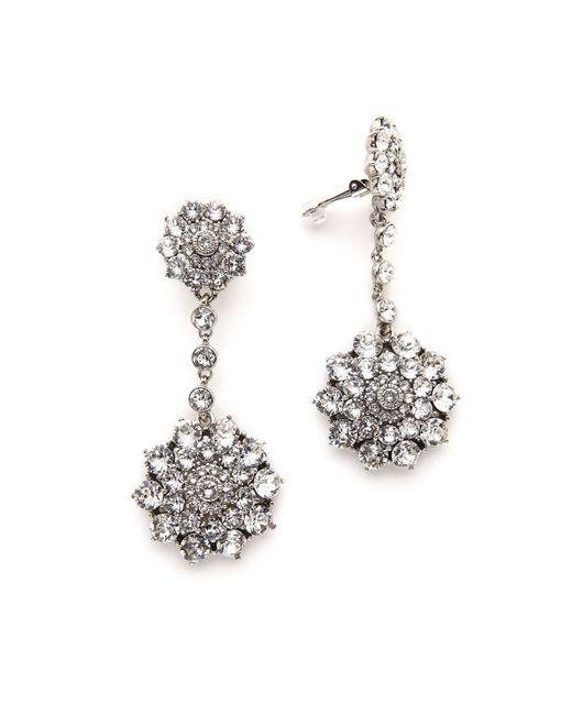 Oscar de la Renta | Metallic Classic Jeweled Drop Earrings | Lyst