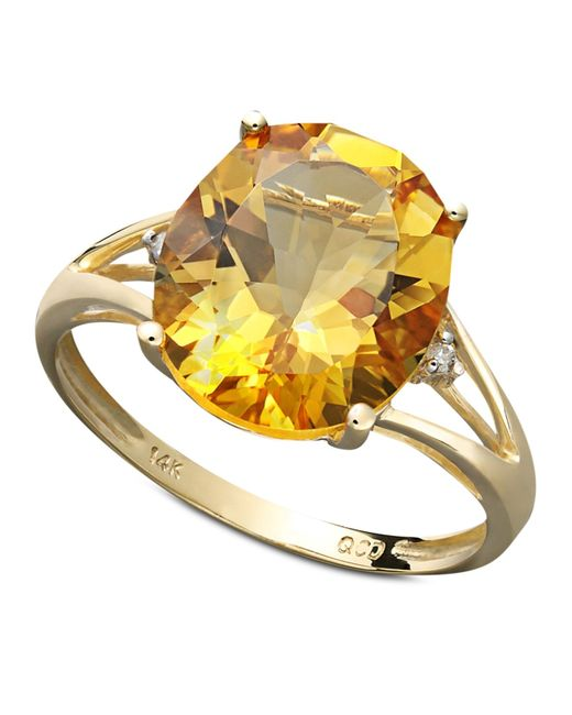 Macy's | Metallic 14k Gold Ring, Citrine (3-1/2 Ct. T.w.) And Diamond Accent Statement Ring | Lyst