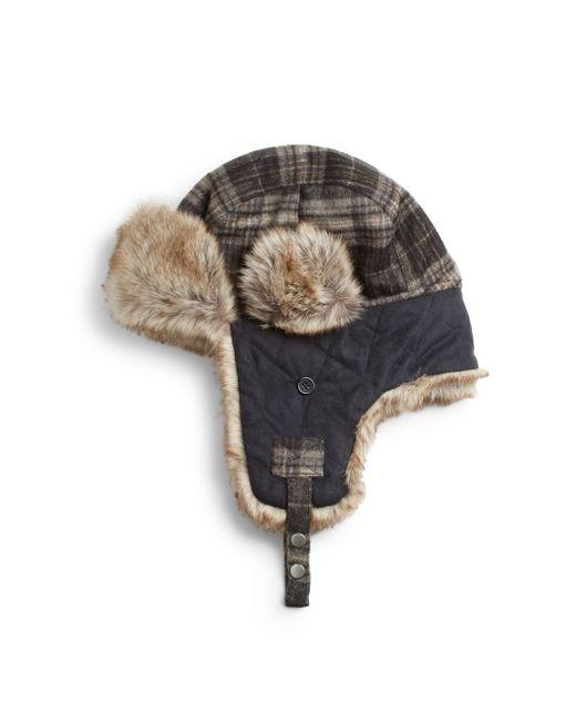 Block Headwear   Black Faux Fur-accented Trapper Hat   Lyst