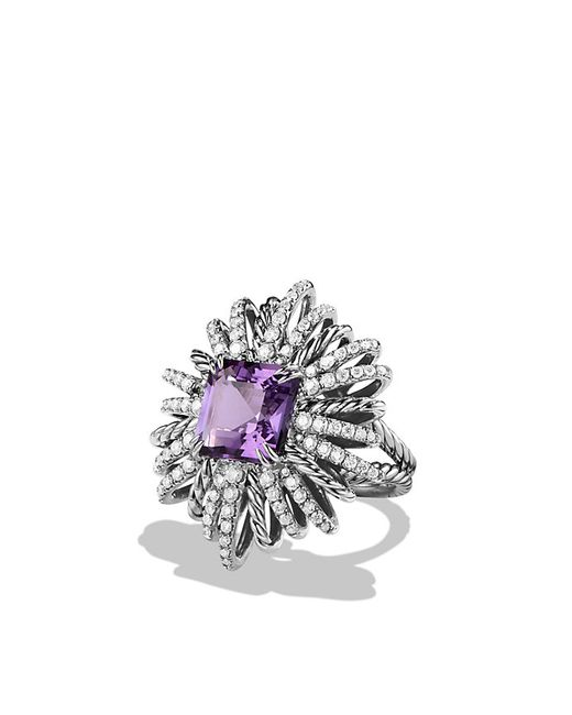 David Yurman | Metallic Starburst Ring With Amethyst And Diamonds | Lyst