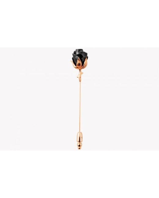 Tateossian | Pink Rose Lapel Pin In Rose Gold Plating & Black | Lyst