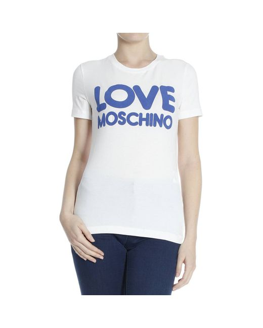 love moschino t shirt in white bianco save 30 lyst. Black Bedroom Furniture Sets. Home Design Ideas