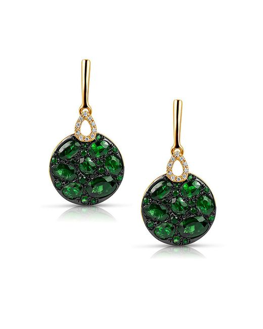 Marco Moore | Green Tsavorite, Diamond And 14k Yellow Gold Drop Earrings | Lyst