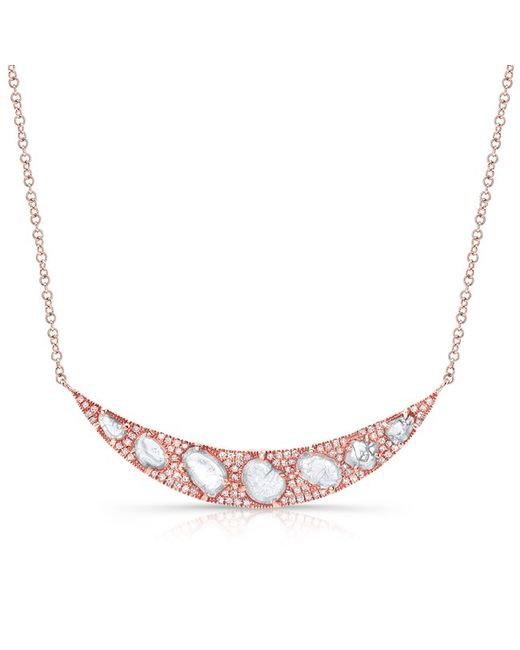 Anne Sisteron | White 14kt Rose Gold Diamond Slice Crescent Necklace | Lyst