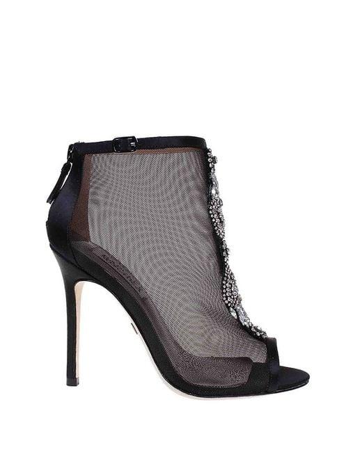 Badgley Mischka | Black Rana Jeweled Mesh Ankle Boots | Lyst