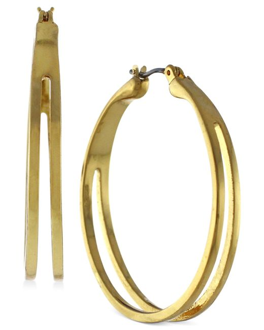 BCBGeneration | Metallic Cutout Medium Hoop Earrings | Lyst