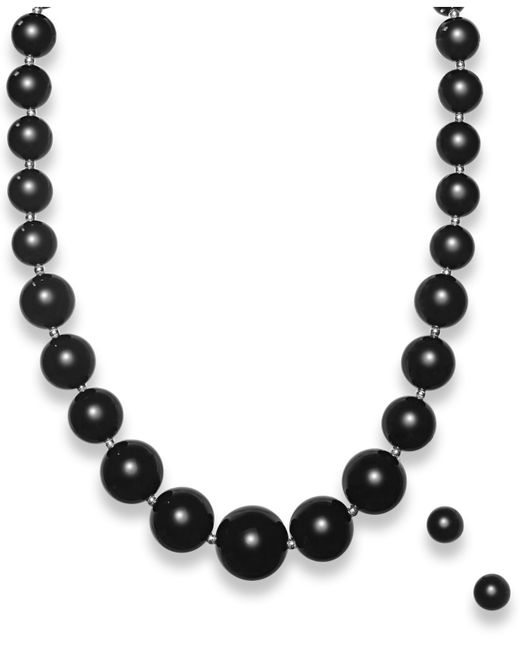Macy's | Black Graduated Onyx Bead Jewelry Set In Sterling Silver (345 Ct. T.w.) | Lyst