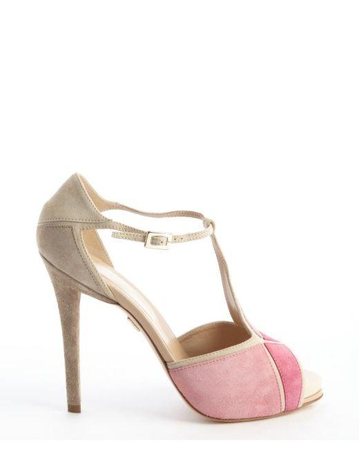 Roger Vivier | Pink And Beige Suede 'prismick' Peep Toe Sandals | Lyst