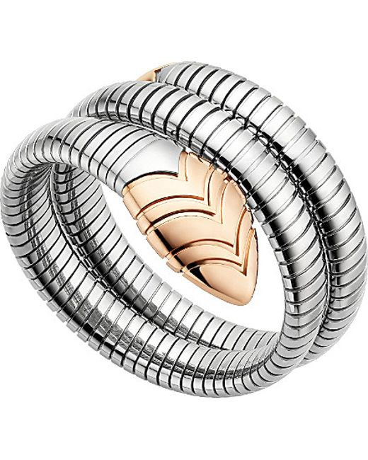 BVLGARI | Metallic Serpenti Tubogas 18kt Pink-gold And Stainless Steel Bracelet | Lyst