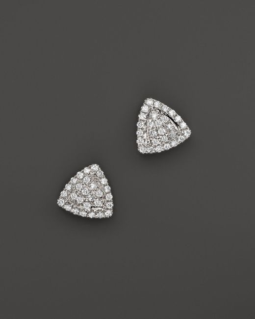 Dana Rebecca | 14k White Gold And Diamond Emily Sarah Triangle Stud Earrings | Lyst