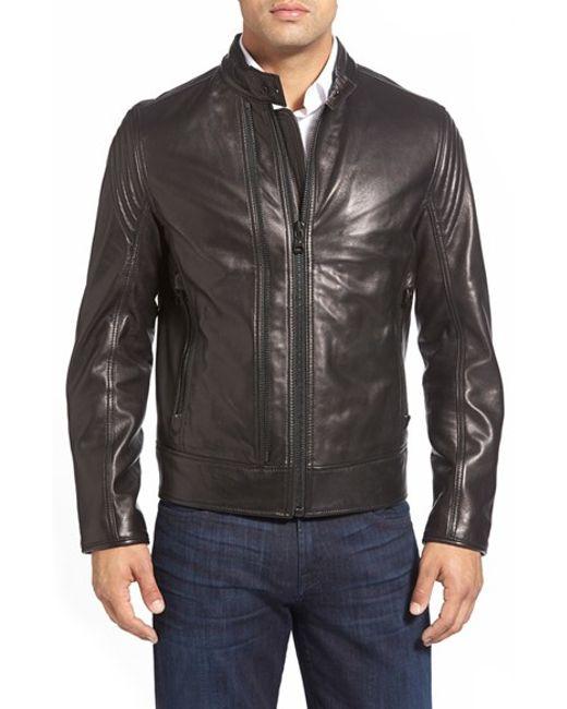 Andrew Marc | Black Vince 'windsor' Lambskin Leather Racer Jacket for Men | Lyst