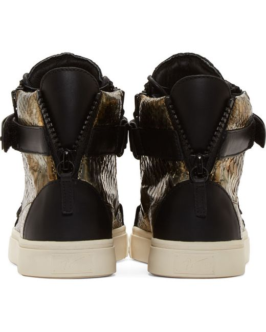 Giuseppe Zanotti | Gold Bronze & Black Snakeskin London Some Sneakers for Men | Lyst
