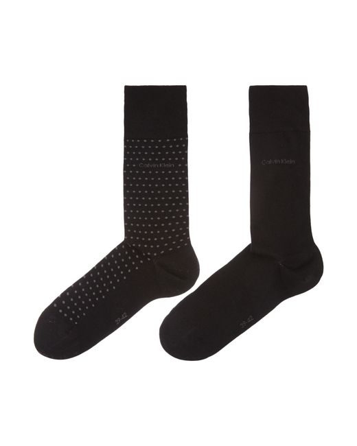 Calvin Klein | Black 2 Pack Flat Knit Dot Socks for Men | Lyst