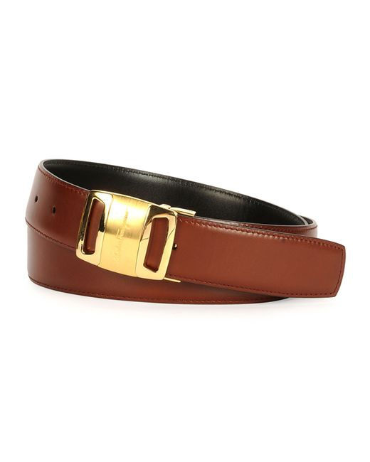 Ferragamo Gold Vara Reversible Buckle Belt in Brown for ...