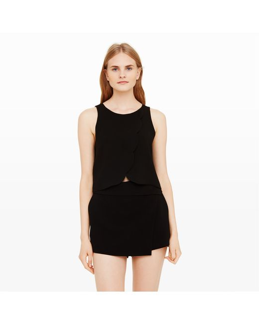 Club Monaco | Black Genero Scalloped Crop Top | Lyst