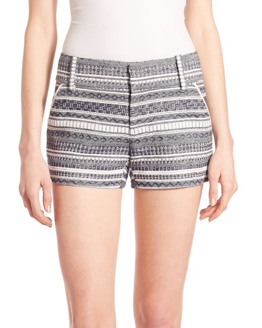 Alice + Olivia | White Cady Printed Stripe Shorts | Lyst