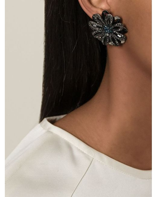 Lanvin | Metallic Flower Clip On Earrings | Lyst