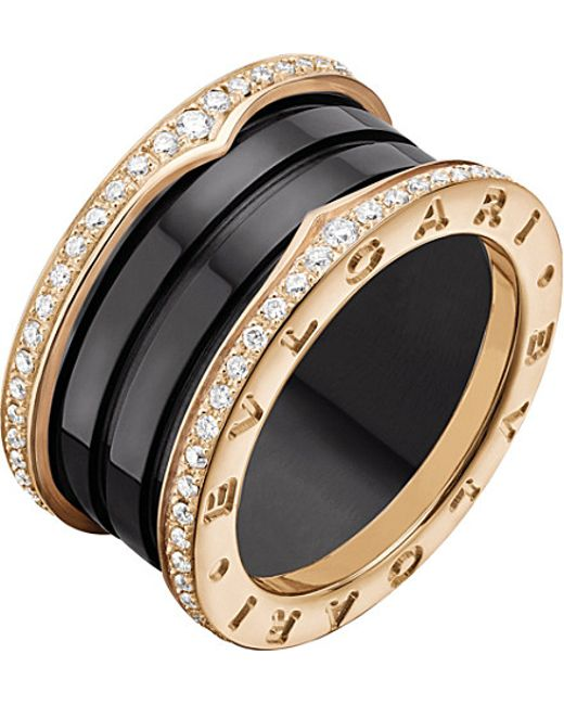 BVLGARI | B.zero1 Four-band 18kt Pink-gold Black Ceramic And Diamond Ring | Lyst