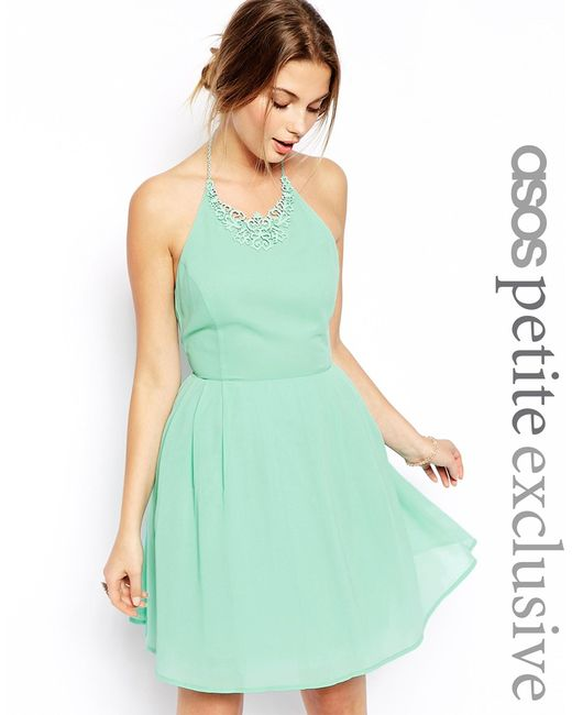 asos prom dress with necklace detail in green mint