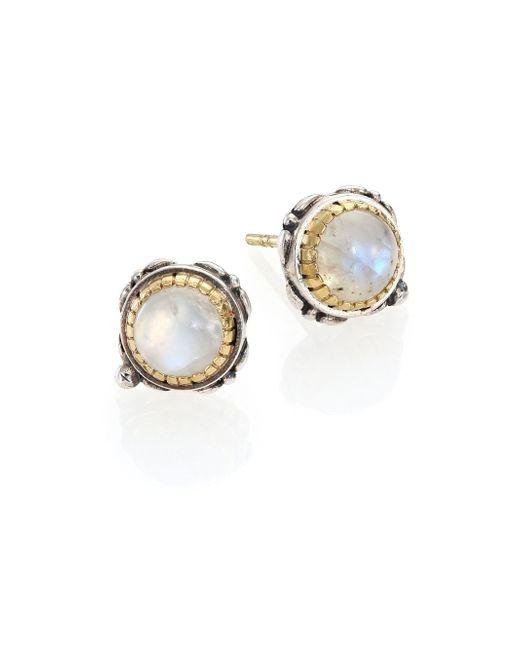 Konstantino | Metallic Erato Labradorite, 18k Yellow Gold & Sterling Silver Stud Earrings | Lyst