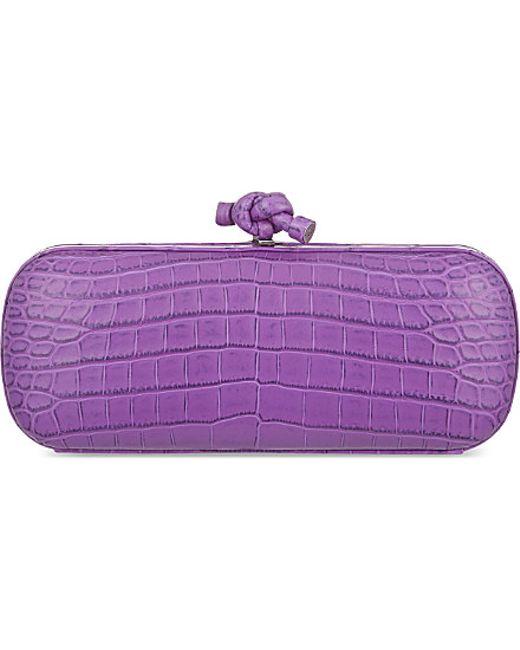 Bottega Veneta | Purple Stretch Knot Crocodile Clutch | Lyst